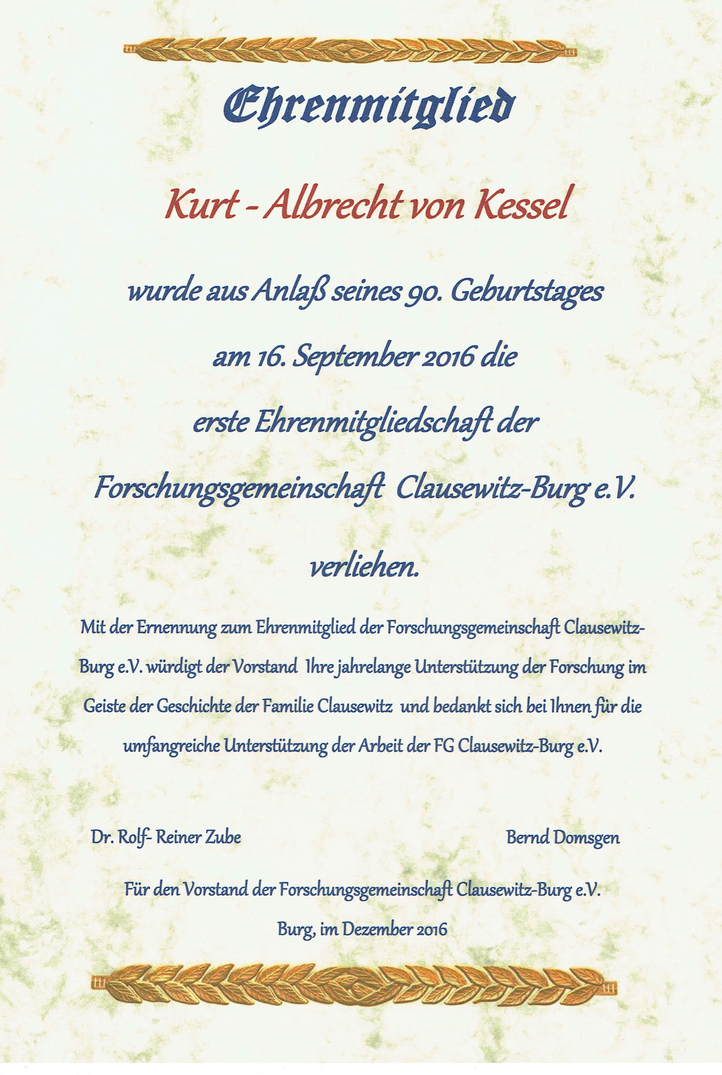 Urkunde zur Ehrenmitgliedschaft der Forschungsgemeinschaft ...